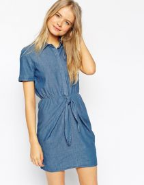 ASOS  ASOS Denim Tie Front Shirt Dress in Light Stonewash Blue at Asos