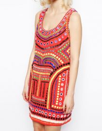ASOS  ASOS Embellished Cage Shift Dress in red at Asos