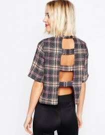 ASOS  ASOS High Neck Top With Open Back In Check at Asos