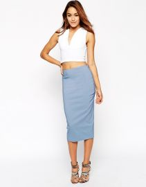 ASOS  ASOS High Waist Longerline Pencil Skirt at Asos