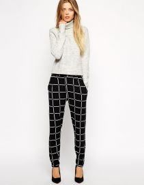 ASOS  ASOS Jersey Peg Trousers In Grid Check at Asos