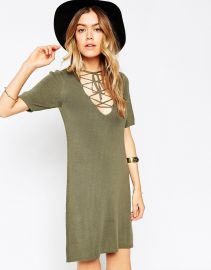 ASOS  ASOS Lace Up A-line Dress In Knit at Asos