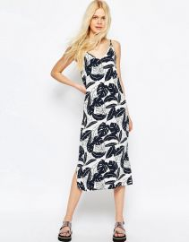 ASOS  ASOS Midi Cami Dress in Mono Palm Print at Asos