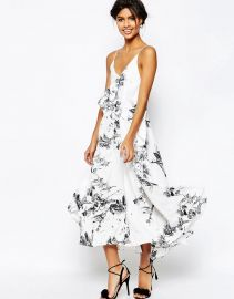 ASOS  ASOS Mono Floral Cami Strap Midi Dress at Asos