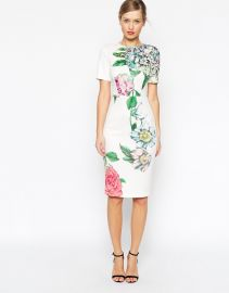 ASOS  ASOS Premium Placed Crayon Floral Bodycon Dress at Asos