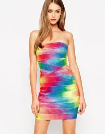ASOS  ASOS SCULPT Premium Bandage Festival Rainbow Bandage Dress at Asos