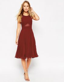 ASOS  ASOS Sheer And Solid Pleated Midi Dress at Asos