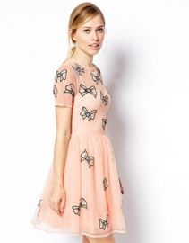 ASOS  ASOS Skater Dress With Bow Embroidery at Asos