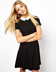 ASOS  ASOS Skater Dress With Contrast Collar at Asos