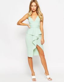 ASOS  ASOS Soft Peplum Wrap With Stitch Detail Belt Dress at Asos