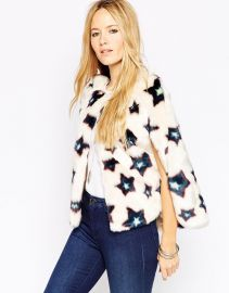 ASOS  ASOS Stars Mini Faux Fur Cape Co-ord at Asos