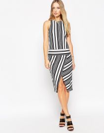ASOS  ASOS Variegated Mono Stripe Pencil Dress with Wrap Skirt at Asos