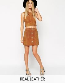 ASOS  ASOS co-ord Suede A-Line Skirt With Button Through And Pocket Detail at Asos