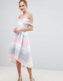 ASOS Bardot Cold Shoulder Dip Back Pastel Stripe Prom Dress at asos com at Asos