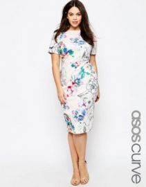 ASOS CURVE Bodycon Dress in Scuba Floral Print at asos com at Asos