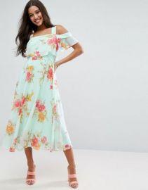 ASOS Cami Cold Shoulder Flutter Sleeve Midi Dress in Floral Print at asos com at Asos