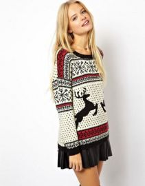 ASOS Christmas Sweater in Reindeer Fairisle at asos com at Asos