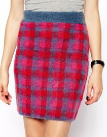 ASOS Co-ord Knitted Skirt In Brushed Check at Asos