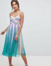 ASOS Color Block Mesh Fit and Flare Midi Dress at asos com at Asos