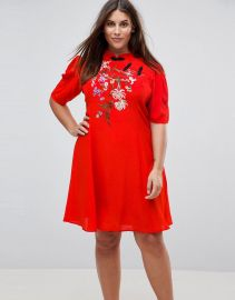 ASOS Curve Chinoiserie Embroidered Mini Dress at Asos