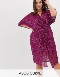 ASOS DESIGN Curve scatter sequin knot front kimono midi dress at asos com at Asos