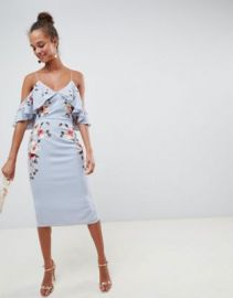 ASOS DESIGN Embroidered Pencil Midi Dress With Cold Shoulder at asos com at Asos