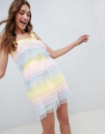 ASOS DESIGN Tiered Mini Dress In Pastel Color Block Tulle at asos com at Asos