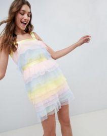 ASOS DESIGN Tiered Mini Dress In Pastel Color Block Tulle at asos com at Asos