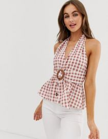 ASOS DESIGN button through halter sun top in gingham   ASOS at Asos