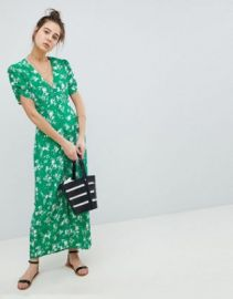 ASOS DESIGN button through maxi tea dress in floral at asos com at Asos