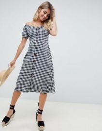 ASOS DESIGN button through midi off shoulder dress in gingham at asos com at Asos