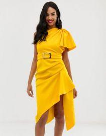 ASOS DESIGN one shoulder belted pencil dress with tuck detail at asos com at Asos