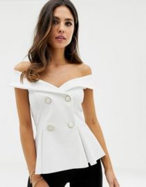 ASOS DESIGN scuba bardot tuxedo top at asos com at Asos