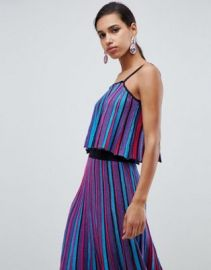 ASOS DESIGN stripe pleated cami top in metallic yarn at asos com at Asos