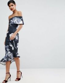 ASOS Dark Floral One Shoulder Asymmetric Pephem Midi Dress at asos com at Asos