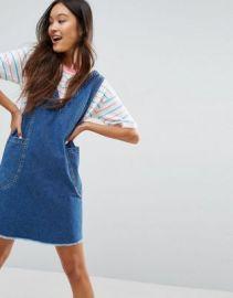ASOS Denim Chuck On Mini Dress in Vintage Blue Wash at asos com at Asos