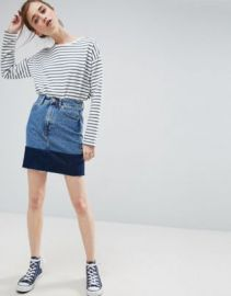ASOS Denim Mini Skirt with Contrast Hem at asos com at Asos