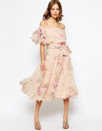 ASOS Floral Bardot Off The Shoulder Midi Prom Dress With Multi Ruffle at asos com at Asos