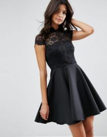 ASOS High Neck Mini Skater Dress With Lace Top at asos com at Asos
