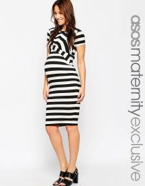 ASOS Maternity  ASOS Maternity Bodycon Dress In Stripe With Cross Front at Asos