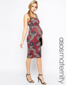 ASOS Maternity  ASOS Maternity Exclusive Bodycon Dress With Side Draping In Winter Floral at Asos