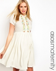 ASOS Maternity  ASOS Maternity Exclusive Shirt Dress with Floral Embroidery in cream at Asos