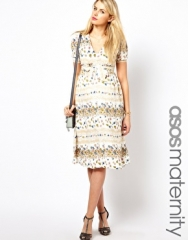 ASOS Maternity  ASOS Maternity Midi Dress In Vintage Floral Print at Asos