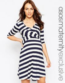 ASOS Maternity  ASOS Maternity Skater Dress With Cross Over In Stripe at Asos