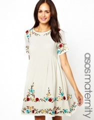 ASOS Maternity  ASOS Maternity Smock Dress with Embroidery at Asos