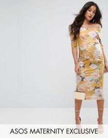 ASOS Maternity Bardot Dress with Half Sleeve in Yellow Base Floral Print at ASOS