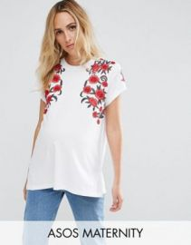 ASOS Maternity T-Shirt With Floral Embroidery at asos com at Asos