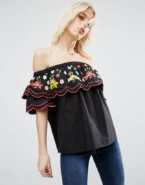 ASOS Off Shoulder Cotton Top With Floral Embroidery at asos com at Asos