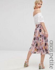 ASOS PETITE Floral Printed Pleated Midi Skirt at asos com at Asos