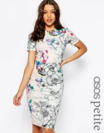 ASOS PETITE Floral T-Shirt Scuba Bodycon Midi Dress at asos com at Asos